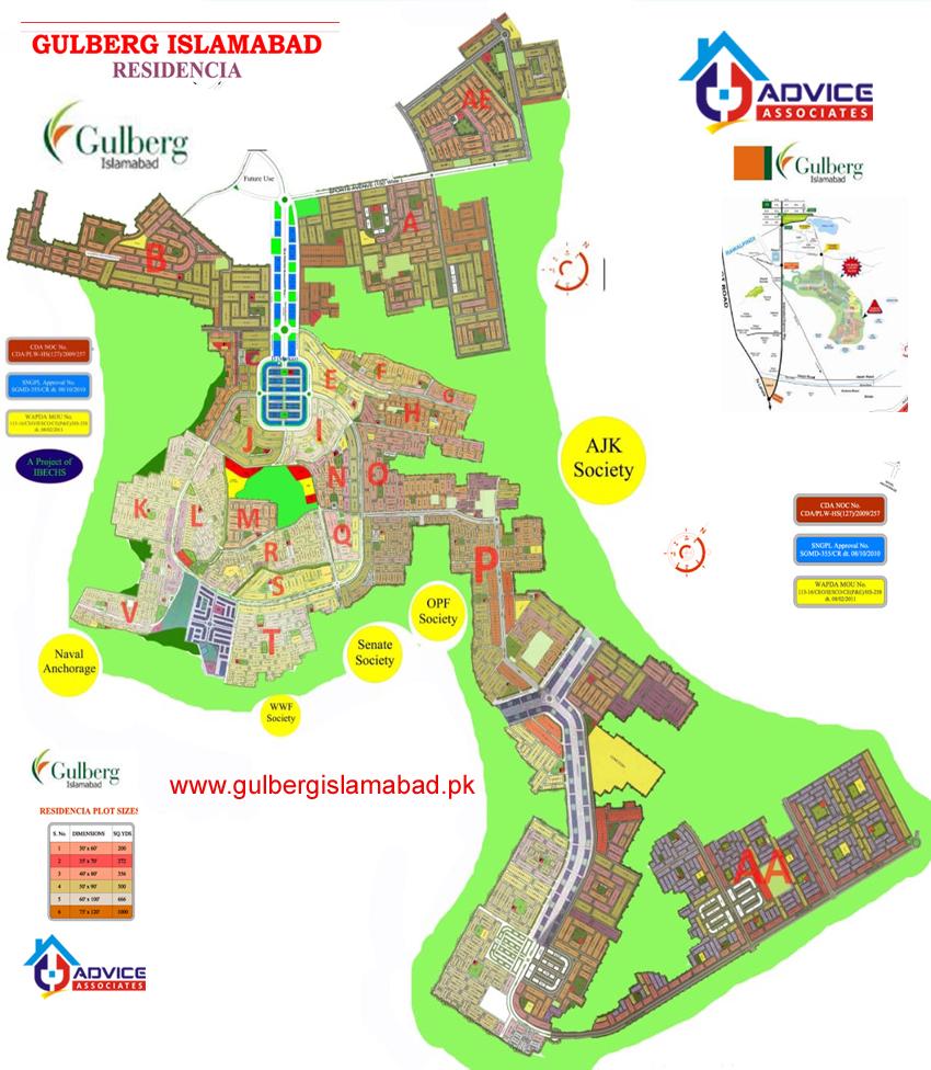 GULBERG GREENS ISLAMABAD MAP | GULBERG RESIDENTIA ISLAMABAD MAP